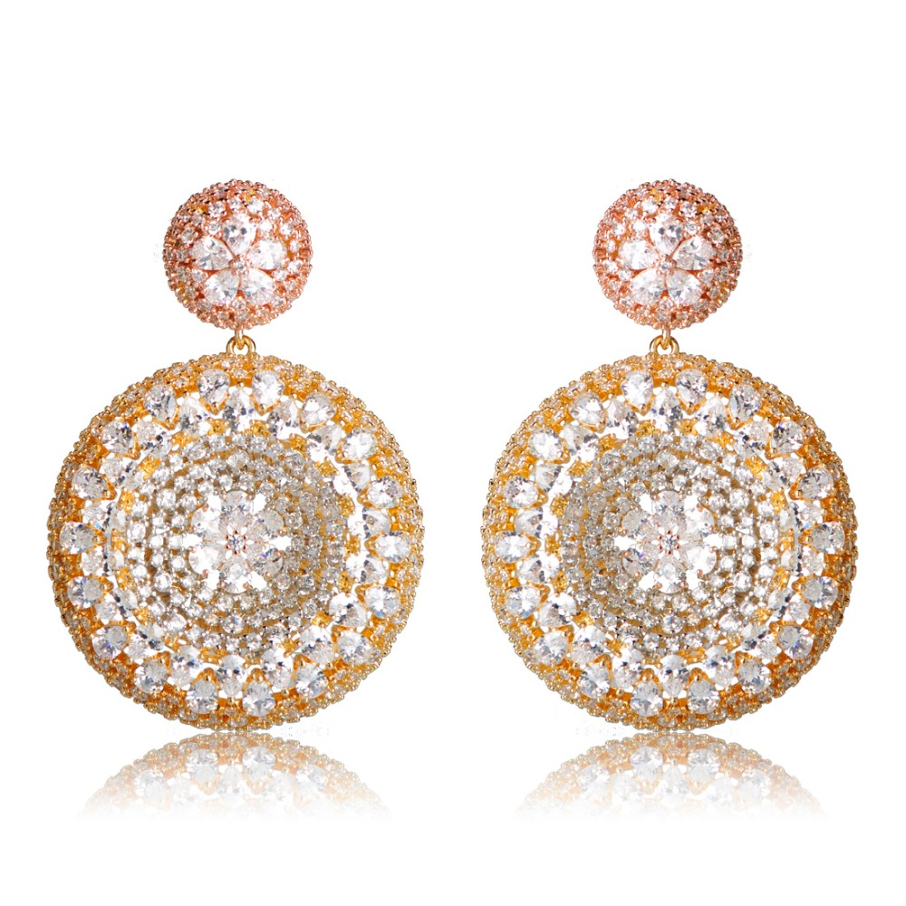 Dazz Full Mirco Paved Crystal Zircon Earrings For Women Naija Nigeria Style Circle Design Wedding Copper Drop Earring Brinco