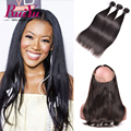 360 Lace Frontal Closure With Bundles Malaysian Straight Hair Pre Plucked Frontal With Bundles 360 Lace Frontal Band With Bundle