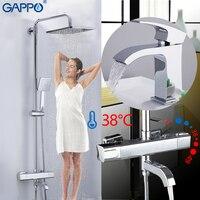 GAPPO смесители для душа хром ванная смеситель для душа ванна душевая головка набор настенный термостатический смеситель для душа смеситель