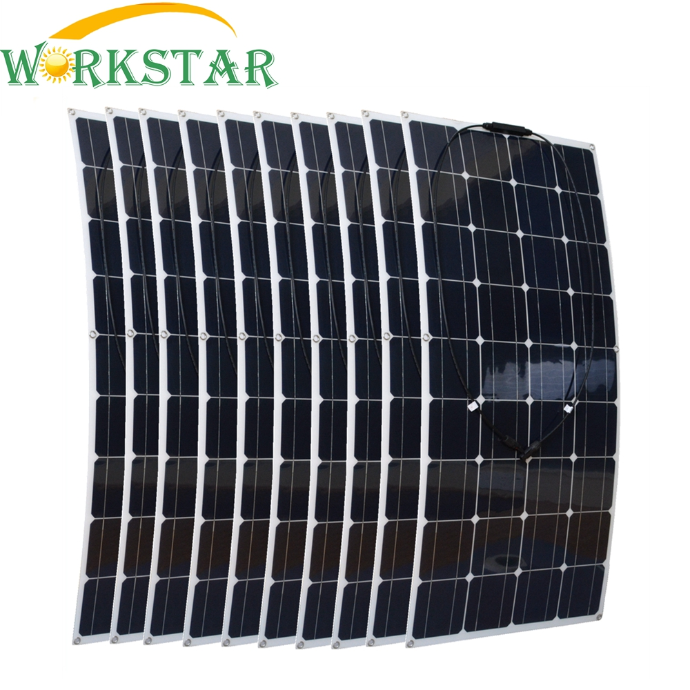 1000W Flexible Solar Panel 10x 100w Solar Module Mono Cell Boat Car House RV Charger Houseuse 1000W Solar System Factory Price 36pcs mono silicon 100w flexible solar panel for fishing boat car rv 12v solar panel module system kits battery solar charger