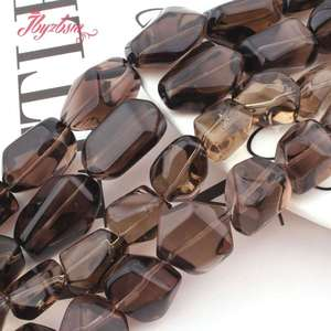 "Image 5 - 12x16 15x20 13x20 15x25mm Freeform Smokys Quartz Bead Natural Stone Beads For Necklace Bracelat Jewelry Making 15"" Free Shipping"