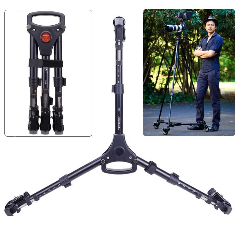 Yunteng 900 Professional Photo Aluminum 3 Wheels Pulley Universal Foldable DSLR Camera Tripod Dolly Base Stand
