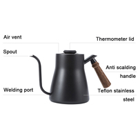 Home Safe Tea Practical Drip Over Gooseneck Easy Clean Coffee Pot Stainless Steel Cafe With Thermometer Wood Handle Kitchen