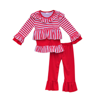 Hot Sale Red White Stripe Shirts Ruffle Pants Girls Boutique Clothing Knitted Cotton Children Kids Christmas Clothes C019