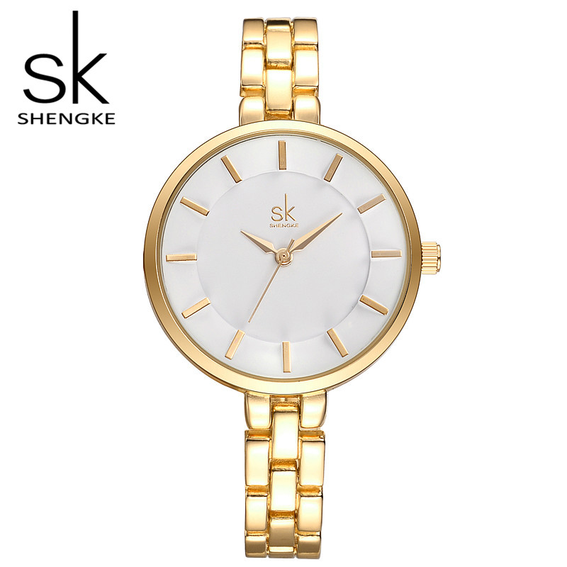 SK Brand Luxury Women Wrist Watches Fashion Gold Silver Stainless Steel Women Dress Watch Quartz Watches