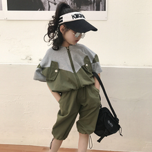 Baby girl cotton suit 2019 summer new casual Korean version of children loose hooded shirt pants color two-piece suit korean version of the children s clothing 2017 spring new girl retro tune floral dress knitted vest two suit