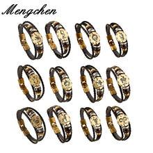 Винтажные бронзовые кожаные браслеты с 12 созвездиями мужские