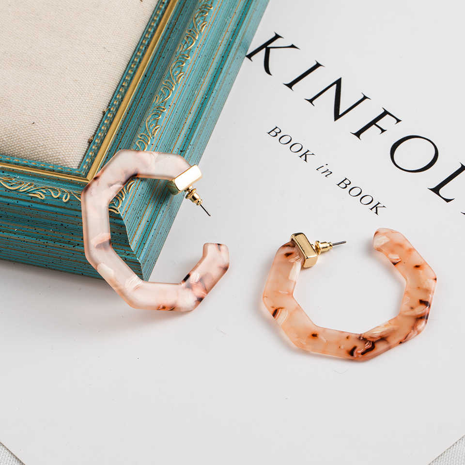 2019 New Fashion Trend Acrylic Acetate Earrings Vintage Design Print Circle Hoops Alloy Earrings For Women Jewelry Accessories
