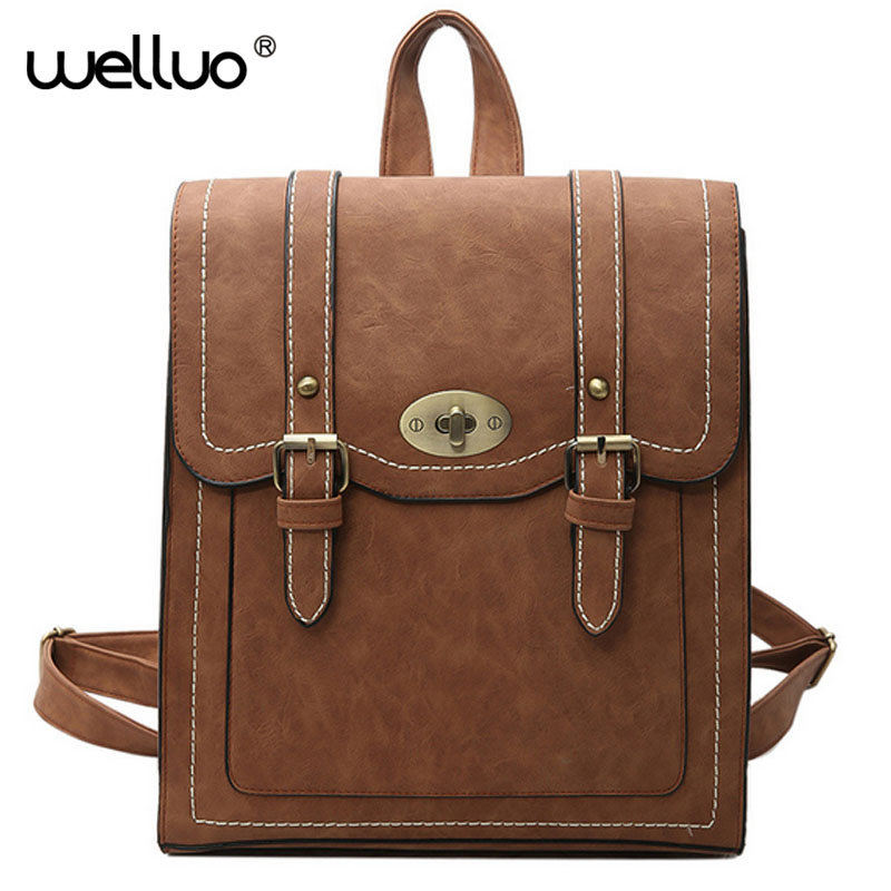WELLVO2017 HOT New Designed Brand Cool Urban Backpack Double Arrow Women Backpack Quality Simple Fashion Girls