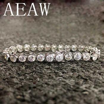 AEAW Lovely 6ctw Solid 14Kt White Gold DF 3.5mm Zircon Lab Diamond Wedding Bezel Bracelet for Women Birthday Fine Jewelry Gift - DISCOUNT ITEM  0% OFF All Category