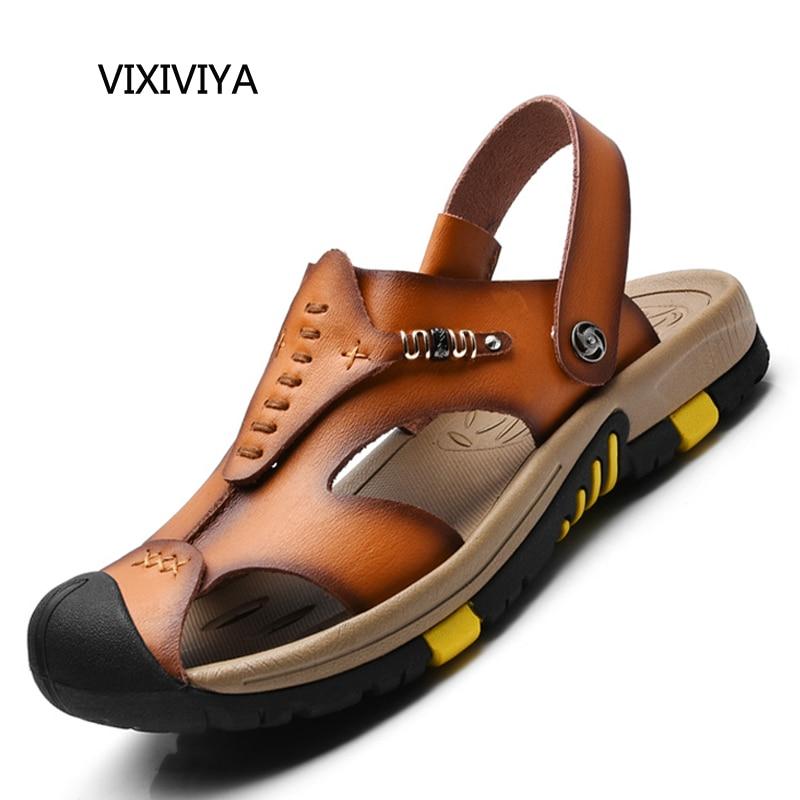 2018 New mens fashion casual shoes slip on summer shoes sandals man genuine leather shoe platform beach sandals shoes for men