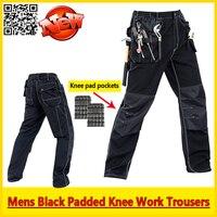 Bauskydd Мужские Прочный Механик рабочие брюки Черные брюки работы с ЕВА наколенники бесплатная доставка