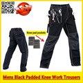Mens calças de trabalho Mecânico Durável Preto calça trabalho com EVA joelheiras frete grátis