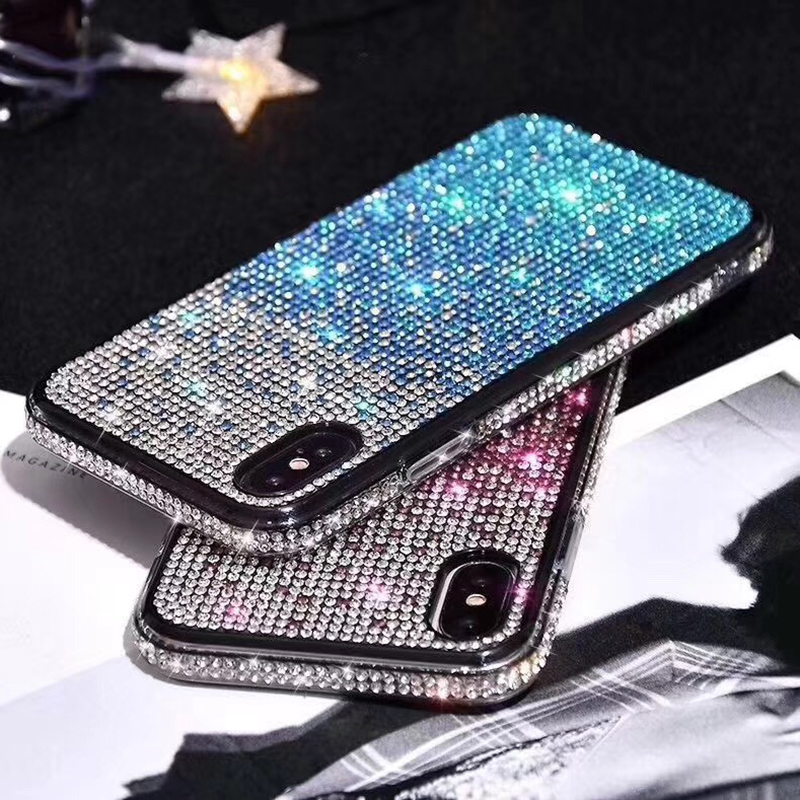 Luxury bling Glitter Plating soft silicon cover case for iphone 6 7 plus 8 X XS XR MAX all Diamond glitter back phone coque capa(China)