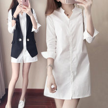 ФОТО new women casual basic summer autumn sexy blouse white top shirt work wear ol loose big size