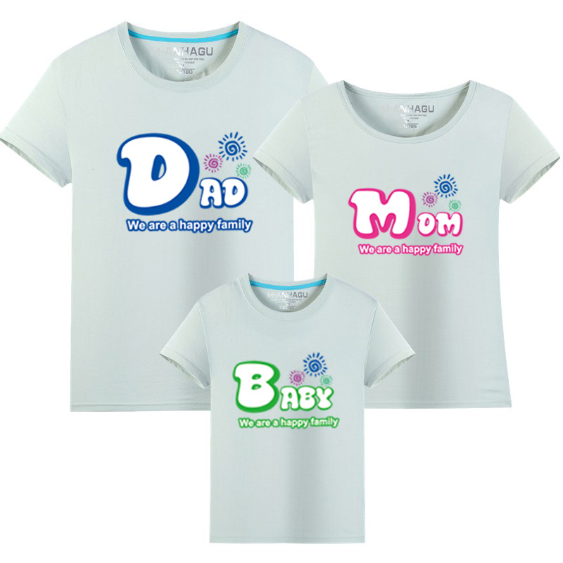 1 pcs Dad Mom Baby printing Family Matching Outfits T-shirt More Color Matching Family Clothes Mother Father Baby Short Sleeve