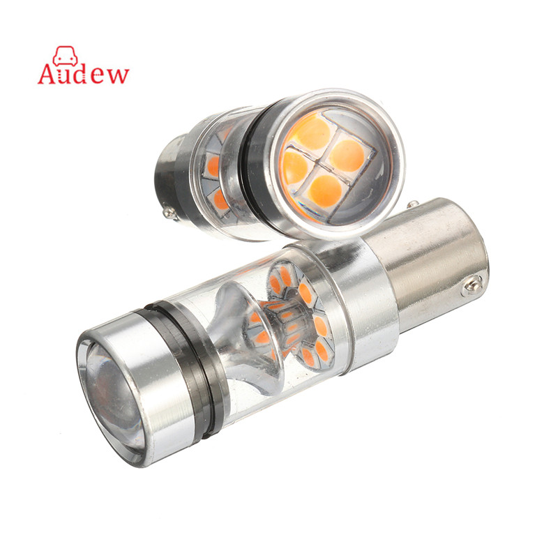 2Pcs High Power 75W BAU15S 7507 PY21W  LED Front/Rear Turn Signal Corner Indicator Light Bulb 1700LM 150 Degree ijdm amber yellow error free bau15s 7507 py21w 1156py xbd led bulbs for front turn signal lights bau15s led 12v
