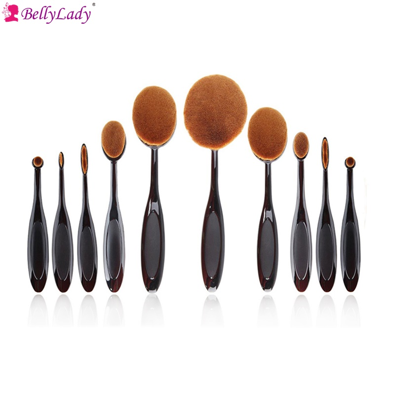 BellyLady Makeup Brushes 10pcs Classic Soft Synthetic Professional Cosmetic Makeup Foundation Powder Blush Eyeliner Brushes