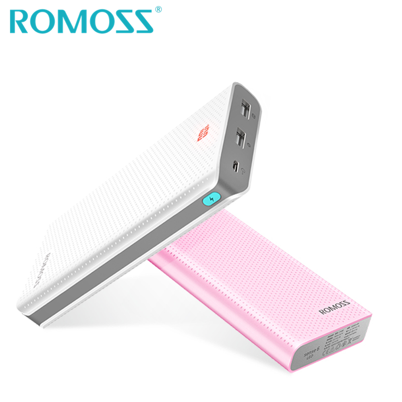 Цена за Оригинал romoss powerbank 20000 мАч sense6 led резервное копирование аккумулятор 18650 power bank box внешний телефон зарядное устройство с скрытый led