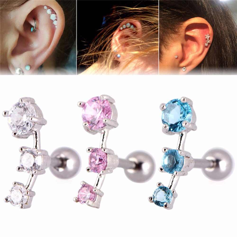 1 Pc New Fashion Cubic Zirconia Steel Barbell Ear Tragus Cartilage Helix Stud Earrings Piercing #269912