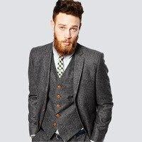 Latest Coat Wedding Suits for Men Slim Fit Tuxedo Grey Tweed Suit Groom Formal Best Men Blazer Men Suit With Pants Vest 3 Pieces