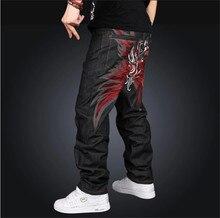 2015 Latest Design New Boy's Baggy Jeans Mens Hip Hop Loose Trousers Big Size Rap Pants For Rapper's Waist Size 30-42