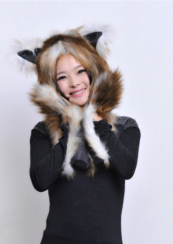 19color Warm imitation fox mink fur hat female winter leisure wild female Personality Christmas Multi-function Outlandish Costum