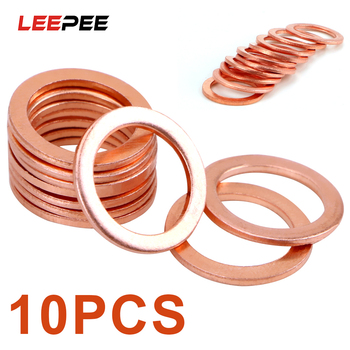 LEEPEE 10 Pieces/Set Sump Plug Oil Seal Tools Fasteners Accessories for Car Truck Vehicle 10*14*1mm Solid Copper Crush Washers