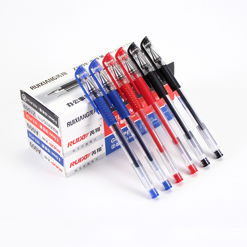 12 Pcs/Set Gel Pen 0.5mm Black Blue Red Ink Pen Maker Pen School Office student Exam Writing Stationery Supply ZXB90 3pcs set kacogreen liquid ink gel pen plastic student office writing pens black blue red ink school supplies stationery
