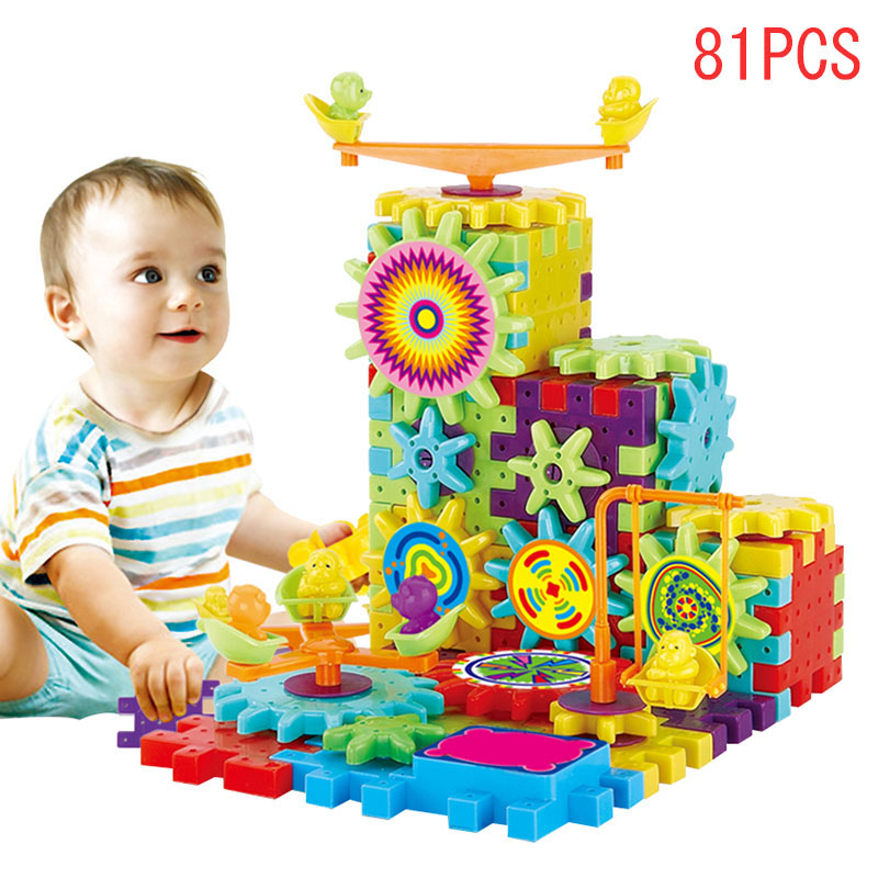 Hot Sale 81 Pcs Plastic Electric Gears 3D Puzzle Building Kits Bricks Educational Toys For Children Kids Fine Gifts 998