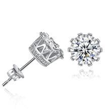 Silikolove 1pair Popular Inlaid Zircon Jewelry Crown Stud Earrings Fashion Minimalist Ladies Gifts
