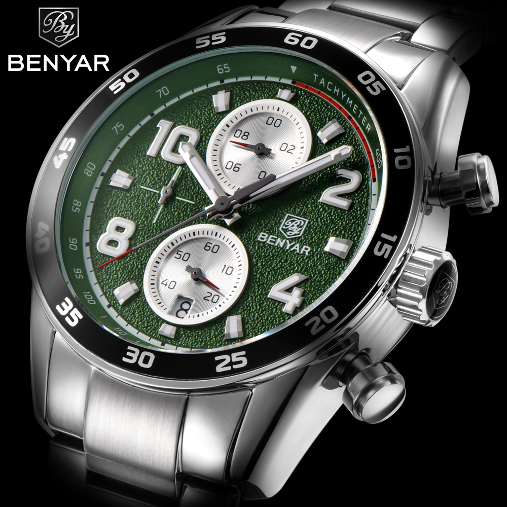 BENYAR Fashion Sport Chronograph Watches Full Steel Band Waterproof 30M Luxury Brand Quartz Watch 2018 Green Saat dropshipping benyar sport chronograph fashion watch