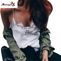 Ahmagen 2017 Лето Новых Женщин Девушки Sexy Кружева Шелковый Майка Спагетти Strapl Жилет Камзол Топы