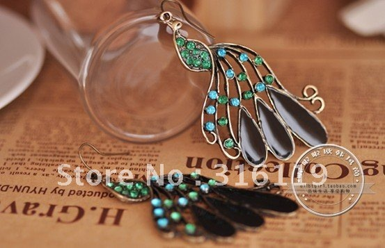 2012 new free shipping Adorn article full drill peacock earrings bronze earring restoring ancient ways earrings