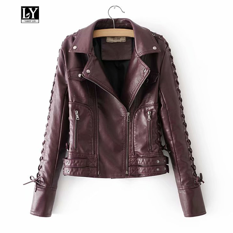 Ly Varey Lin New Women Faux Soft   Leather   Jacket Motorcycle Zipper Rivet Bandage Overcoat High-quality Female   Leather   Outerwear