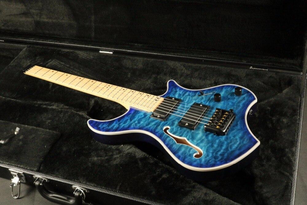 Top qualité GYHL-0009 sans tête couleur bleue frêne bois corps avec trou F matelassé érable placage couverture actif pick-up guitare électrique