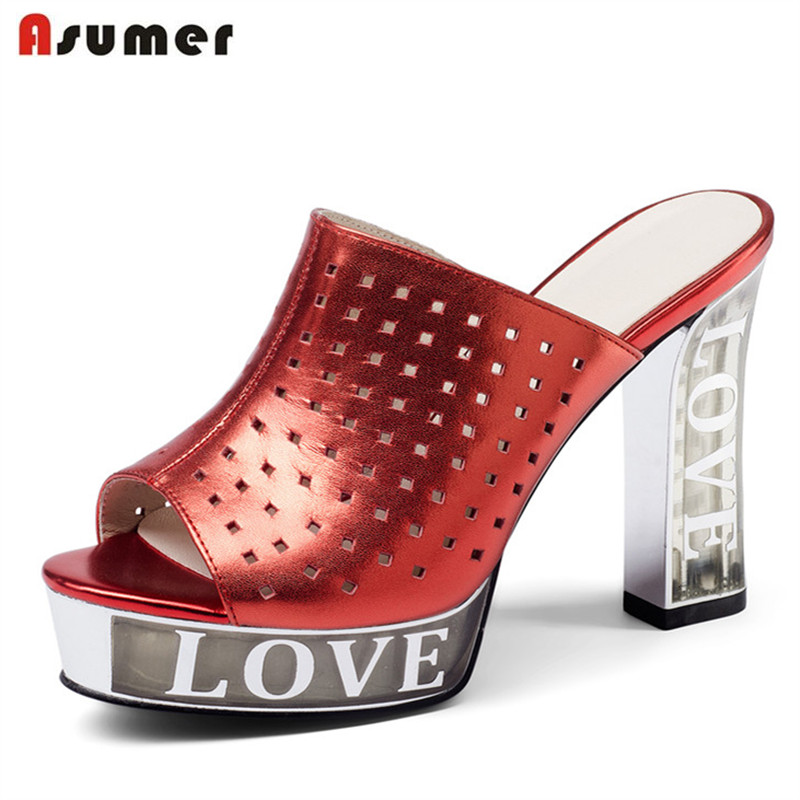 ASUMER 2018 fashion summer women sandals genuine leather peep toe high heels shoes simple leisure popular shoes woman 2017 new summer fashion women casual shoes genuine leather lady leisure sandals gladiator all match ankle peep toe flowers