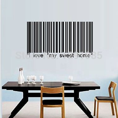 I Love My Sweet Home Funny Barcode Wall Vinyl Sticker Decals Decor