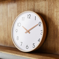 Large Wall   Clocks  , wood/metal needle, number/modern line, Silent Movement, clear glass cover, beech outershell, copper ferrule
