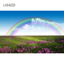 Laeacco Nature Scenic Flower Sea Rainbow Backdrop Child Portrait Photography Background Photographic Backdrop For Photo Studio professional 10x20ft muslin 100% hand painted scenic background backdrop spring flower wedding photography background