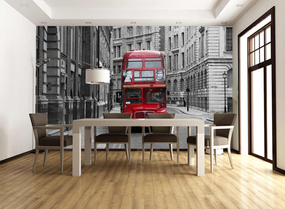 Retro Black White Style London Bus City Building Cityscape View Photo Embossed Wallpaper Mural Rolls for 3D Living Room Wall Art