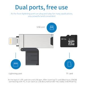 Image 2 - DM CR008 быстрозаряжаемый Micro SD/TF OTG кардридер USB 3,0 памяти Mini USB кардридер USB для iPhone 6/7/8 Plus, iPod, iPad, мобильное устройство считывания карт