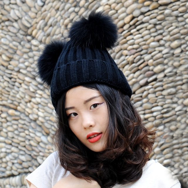c0b336967afc8 CX-C-113A Winter New Snow Hats Wool Knitted Black Beanie Hat With Two  Raccoon Fur Pom Poms For Women Men Skullies Hats Caps