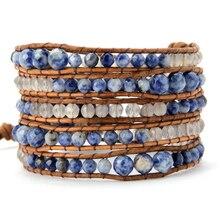 Градуированный граненый бразильский браслет из содалита оникса, кожаный браслет, плетеный многослойный браслет, подарки, Прямая поставка