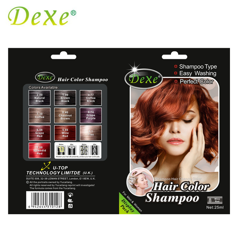 5pcs Lot Dexe Wine Red Hair Color Shampoo Hair Dye Easy Washing Perfect Color For Men Women
