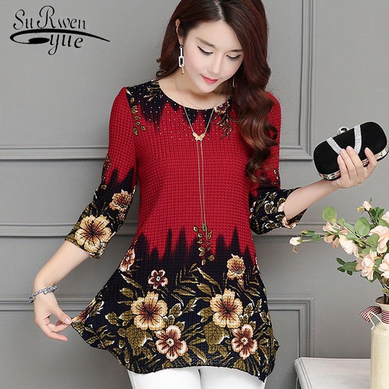 2018 New Fashion women blouse shirt plus size 4XL Chiffon red women's clothing o-neck floral Print feminine tops blusas 993D 30