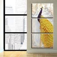 3 piece Wall Art Painting Golden Tail Peacock On Canvas Pictures Oil Painting For Home Decoration Print Drop shipping