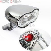 Chrome H3 55w StreetFighter Custom Headlight Headlamp Motorcycle Hi/Lo Beam Oval Double Head Lights For Ducati Harley Cafe Racer