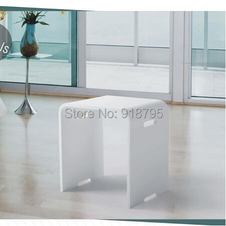Solid Surface Stone Resin Small Glossy Bathroom Stool CLOAKROOM STEAM SHOWER CHAIR 16 x 12 inch  SW113