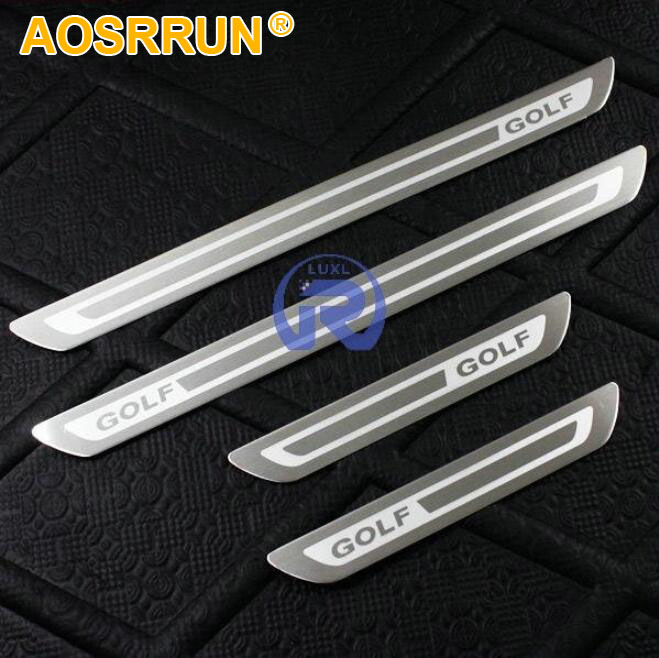 Stainless Door Sill Scuff Plate fit <font><b>For</b></font> <font><b>VW</b></font> Volkswagen <font><b>Golf</b></font> <font><b>6</b></font> 7 <font><b>gti</b></font> 2012 2013 2014 2015 2016 2017 2018 car <font><b>accessories</b></font> styling image